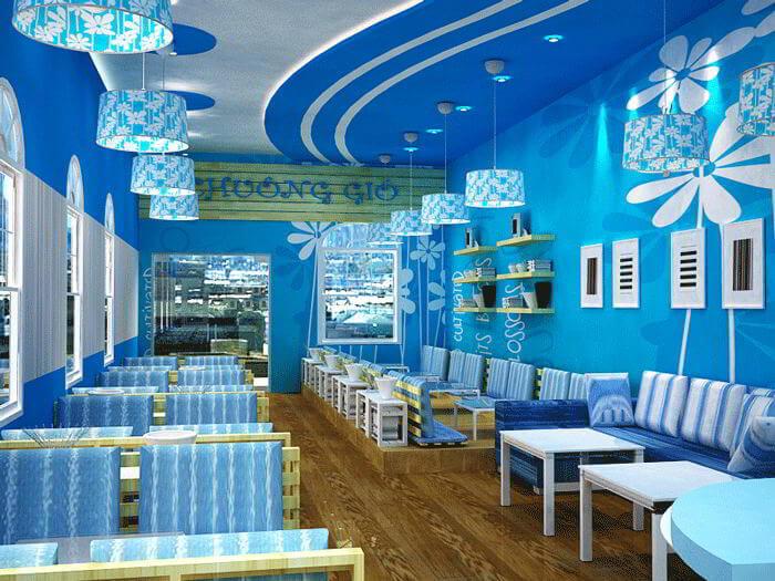 màu xanh dương sẽ giúp cho quán ăn trở nên tươi mát hơn