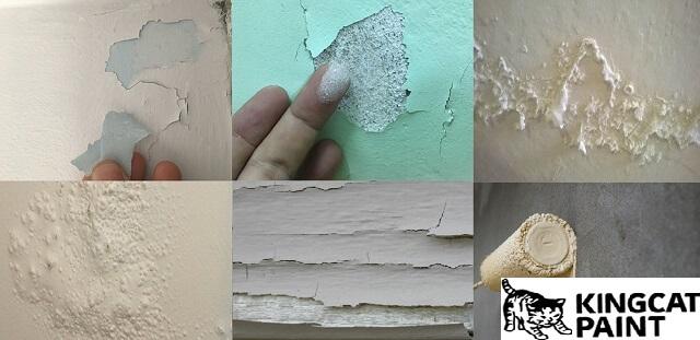 Bức tường loang lổ, bong tróc do không có kinh nghiệm sơn nhà